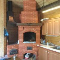 Летняя кухня с мангалом, казаном, столешницей и медным вытяжным зонтом