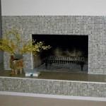 Камин с открытой топкой облицованный мозаикой