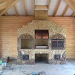 Летняя кухня с мангалом, казаном и коптильней с медным вытяжным зонтом